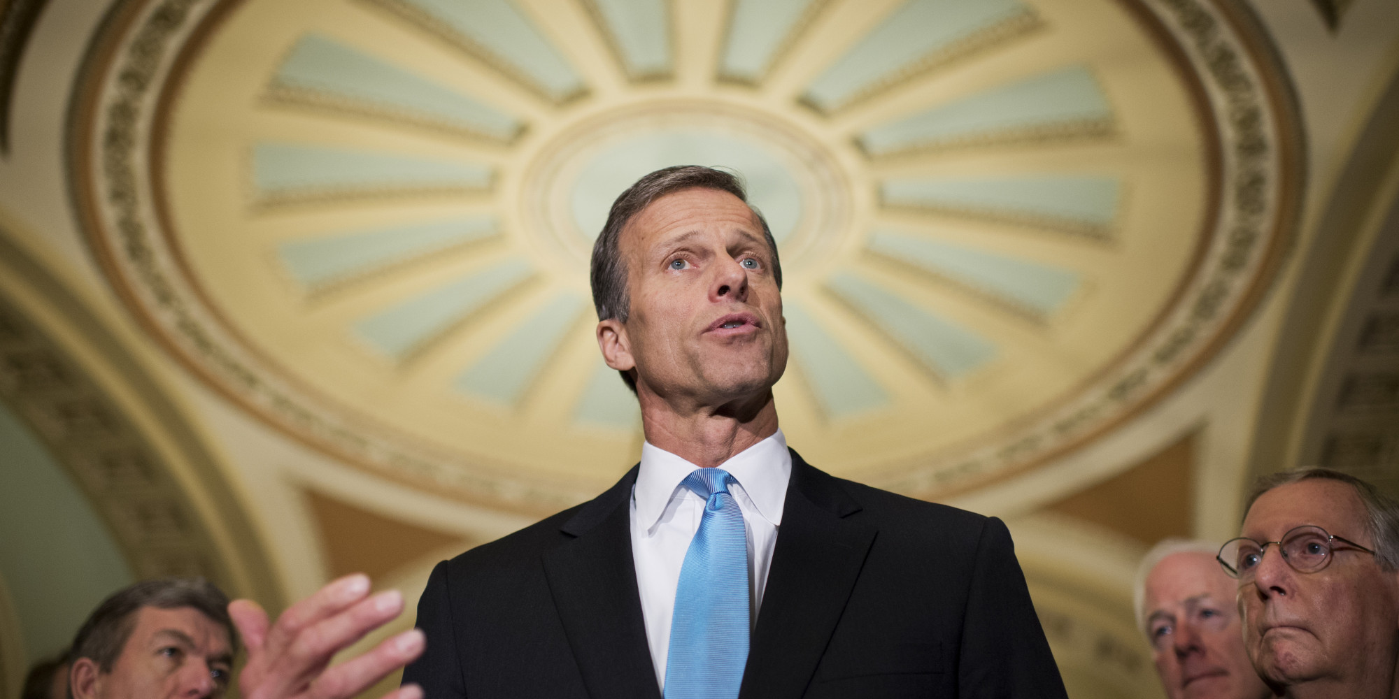 UNITED STATES - FEBRUARY 25: Sen. John Thune, R-S.D., talks with the media after the senate luncheons in the Capitol. Sens. Roy Blunt, R-Mo., left, Senate Minority Leader Mitch McConnell, R-Ky., far right, and John Cornyn, R-Texas., also appear. (Photo By Tom Williams/CQ Roll Call)